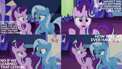 Size: 1280x720   Tagged: safe, edit, edited screencap, editor:quoterific, screencap, starlight glimmer, trixie, all bottled up, collage, twilight's castle