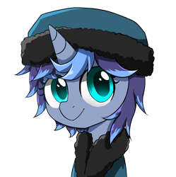 Size: 1920x1925   Tagged: safe, artist:ce2438, oc, oc only, oc:moonlight toccata, unicorn, clothes, coat, female, hat, simple background, transparent background, winter clothes