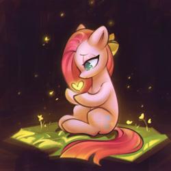 Size: 1814x1814   Tagged: safe, artist:mirroredsea, pinkie pie, earth pony, pony, book, female, floating heart, heart, lidded eyes, pinkamena diane pie, sitting, solo