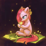 Size: 1814x1814 | Tagged: safe, artist:mirroredsea, pinkie pie, earth pony, pony, book, female, floating heart, heart, lidded eyes, pinkamena diane pie, sitting, solo