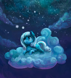 Size: 1500x1647 | Tagged: safe, artist:gor1ck, artist:nemo2d, oc, oc only, oc:snowdrop, pegasus, pony, cloud, collaboration, female, filly, night, on a cloud, snow, snowfall, snowflake, solo, winter
