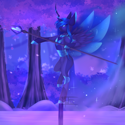 Size: 2000x2000   Tagged: safe, artist:minelvi, oc, oc only, alicorn, pony, alicorn oc, balancing, bipedal, commission, horn, outdoors, signature, solo, staff, tree, wings, ych result