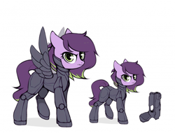 Size: 700x533 | Tagged: safe, artist:laymy, oc, oc only, oc:nebula patroler, pegasus, pony, cyber-questria, armor, cybernetic legs, cybernetic wings, female, gun, handgun, mare, police, police officer, raised leg, simple background, solo, white background, wings