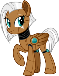 Size: 388x500 | Tagged: safe, artist:fohlenetech, oc, oc only, oc:project glory, pegasus, pony, robot, robot pony, cyber-questria, female, mare, raised hoof, simple background, solo, transparent background