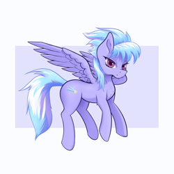 Size: 1700x1700 | Tagged: safe, artist:aquaticvibes, cloudchaser, pegasus, pony, female, lidded eyes, mare, simple background, smiling, solo, spread wings, wings
