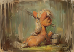 Size: 1200x850 | Tagged: safe, artist:assasinmonkey, applejack, earth pony, pony, eyes closed, facing away, female, mare, painterly, solo