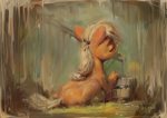Size: 1200x850 | Tagged: safe, artist:assasinmonkey, applejack, earth pony, pony, bucket, eyes closed, facing away, female, mare, painterly, solo