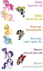 Size: 236x388 | Tagged: safe, applejack, fluttershy, pinkie pie, rainbow dash, rarity, twilight sparkle, pegasus, pony, unicorn, blossom (powerpuff girls), bubbles (powerpuff girls), buttercup (powerpuff girls), comparison, female, the powerpuff girls, unicorn twilight