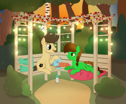 Size: 2362x1955 | Tagged: safe, artist:dyonys, oc, oc:lucky brush, oc:night chaser, earth pony, apple, apple tree, bench, birch, blanket, bowl, braid, bush, fairy lights, female, flower, food, freckles, looking at each other, luckychaser, lying down, male, mare, married couple, married couples doing married things, peanuts, photo, pillow, rose, sitting, stallion, sundown, talking, tree, water bottle, wingding eyes