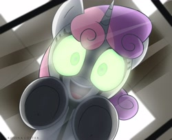 Size: 4096x3331 | Tagged: safe, artist:opal_radiance, sweetie belle, pony, robot, robot pony, unicorn, cute, diasweetes, female, filly, glowing eyes, looking at you, open mouth, solo, sweetie bot, table, underhoof