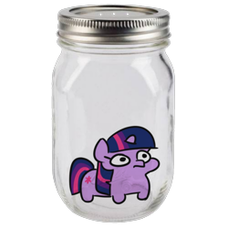 Size: 1628x1628 | Tagged: safe, artist:jargon scott, edit, twilight sparkle, cum jar, frightened, jar, simple background, this will not end well, transparent background, twiggie