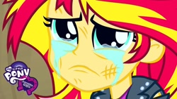 Size: 1280x720 | Tagged: safe, sunset shimmer, equestria girls, crying, cute, defeated, equestria girls logo, sad, shimmerbetes
