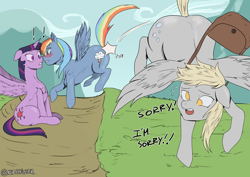 Size: 3508x2480 | Tagged: safe, artist:nire, derpy hooves, rainbow dash, twilight sparkle, alicorn, pegasus, accident, blushing, boop, dialogue, exclamation point, female, floppy ears, lesbian, mailbag, noseboop, shipping, shove, spread wings, sweat, sweatdrop, text, twidash, twilight sparkle (alicorn), wings