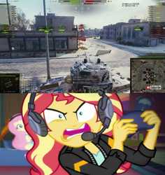Size: 817x864 | Tagged: safe, artist:edy_january, fluttershy, sunset shimmer, human, equestria girls, american, cyrillic, duo, duo female, erika sully.parker, female, heavy tank, humanized, kv-4, meme, natasha shakovich, online game, open mouth, russian, streaming, tell me what you need, video game, war game, wargaming.net, world of tanks, world of tanks blitz