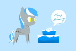 Size: 964x652 | Tagged: safe, artist:depland, oc, oc:antimony, pegasus, birthday, solo