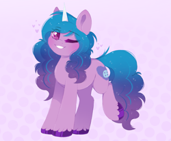 Size: 3207x2647 | Tagged: safe, artist:adostume, pony, unicorn, spoiler:g5, blushing, cute, eyelashes, female, fluffy, g5, heart, izzy, izzybetes, looking at you, mare, one eye closed, one leg raised, raised hoof, simple background, smiling, solo, standing, unshorn fetlocks, wink