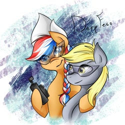 Size: 1000x1000 | Tagged: safe, derpy hooves, oc, oc:ember, hearth's warming con, derpfest, duo, female