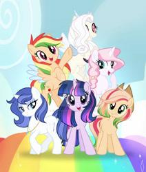 Size: 1280x1512   Tagged: safe, artist:auroranovasentry, oc, oc:apple heaven, oc:aurora nova, oc:cookie charm, oc:roselia, oc:sky gem, oc:zap cloud, earth pony, hybrid, pegasus, pony, unicorn, interspecies offspring, magical lesbian spawn, offspring, parent:applejack, parent:discord, parent:fancypants, parent:flash sentry, parent:fluttershy, parent:pinkie pie, parent:pokey pierce, parent:rainbow dash, parent:rarity, parent:twilight sparkle, parents:appledash, parents:discoshy, parents:flashlight, parents:pokeypie, parents:raripants