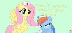Size: 881x409 | Tagged: safe, artist:dutch-brony, fluttershy, rainbow dash, hat, nurse hat, sick, thermometer