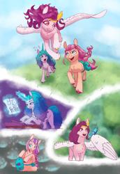 Size: 1500x2184 | Tagged: safe, artist:cowovermoonstone, izzy, sunny starscout, earth pony, pegasus, pony, unicorn, spoiler:g5, female, g5, pipp