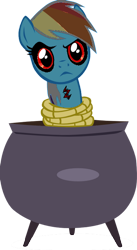 Size: 400x729 | Tagged: safe, rainbow dash, magical mystery cure, .exe, a true true friend, cauldron, crack, rainbow.exe, red eyes, rope, tied up, unamused