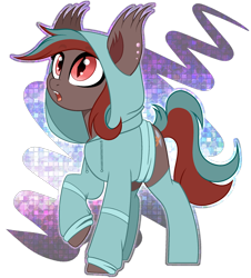 Size: 2088x2308 | Tagged: safe, artist:angel_animotr, oc, oc only, oc:littleknot, bat pony, hybrid, pony, wingless bat pony, bat pony oc, clothes, eyeshadow, fangs, hoodie, looking up, makeup, open mouth, partial background, slit pupils, socks, solo, wingless