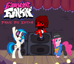 Size: 779x670 | Tagged: safe, dj pon-3, pinkie pie, vinyl scratch, human, clothes, friday night funkin', glasses, party, pegasus wings, rapper, rapper pie, shirt, shoes, speakers, stage, underwear, wings, zalgo pagie