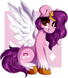 Size: 2044x2352 | Tagged: safe, artist:woonborg, pipp, pegasus, pony, abstract background, chest fluff, eyelashes, female, g5, high res, looking at you, simple background, sitting, solo, transparent background, unshorn fetlocks