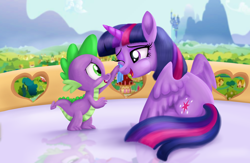 Size: 4550x2975 | Tagged: safe, artist:greenbrothersart, spike, twilight sparkle, alicorn, dragon, pony, balcony, canterlot, crying, duo, female, handkerchief, male, one eye closed, open mouth, ponyville, ponyville town hall, reflection, scenery, sitting, tears of joy, tissue, twilight sparkle (alicorn), twilight's castle, wiping tears