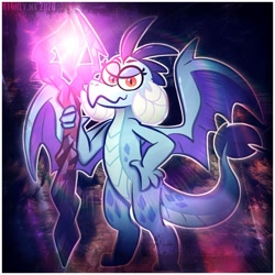Size: 1381x1381 | Tagged: safe, artist:iamglimm, artist:st4rlynx, princess ember, dragon, lidded eyes, looking at you, smiling, solo