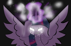 Size: 1700x1100 | Tagged: safe, artist:youlooklikefood, twilight sparkle, alicorn, pony, angry, crying, female, floppy ears, glowing eyes, glowing horn, horn, magic, solo, spread wings, twilight sparkle (alicorn), wings