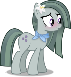 Size: 2929x3183 | Tagged: safe, artist:anime-equestria, marble pie, earth pony, blushing, clothes, cute, female, flower, flower in hair, mare, scarf, simple background, smiling, solo, transparent background, vector