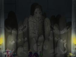 Size: 2732x2048 | Tagged: safe, artist:lordshrekzilla20, princess cadance, shining armor, spike, twilight sparkle, fanfic:the one true king, fanfic art, godzilla (series), hieroglyphics, king kong, kong: skull island, monsterverse, skullcrawler, worship
