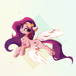 Size: 1840x1840 | Tagged: safe, artist:aureai, pipp, pegasus, pony, abstract background, chest fluff, ear fluff, g5, jewelry, leg fluff, long mane, looking at you, simple background, smiling, solo, spread wings, tiara, unshorn fetlocks, wing fluff, wings