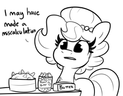 Size: 3820x3000 | Tagged: safe, artist:tjpones, oc, oc only, oc:brownie bun, earth pony, pony, horse wife, black and white, butter, female, food, grayscale, mare, monochrome, peanut, peanut butter, simple background, solo, white background