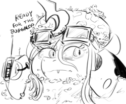 Size: 942x778 | Tagged: safe, artist:testostepone, queen chrysalis, changeling, boogaloo memes, camouflage, goggles, monochrome, pun, simple background, solo, white background