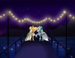 Size: 4096x3203 | Tagged: safe, artist:galaxy swirl, applejack, rainbow dash, earth pony, pegasus, pony, appledash, clothes, dress, female, lesbian, shipping, wedding dress