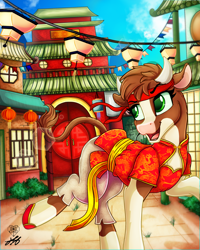 Size: 2000x2500 | Tagged: safe, artist:stainedglasslighthea, arizona cow, cow, them's fightin' herds, belt, building, bush, chinese dress, chinese new year, clothes, commission, community related, dress, female, flats, headband, hoof shoes, horns, lantern, lunar new year, open mouth, pants, raised hoof, raised leg, shoes, solo, ych result, year of the ox