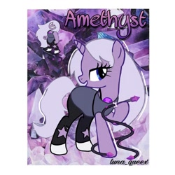 Size: 1080x1080 | Tagged: safe, artist:luna.queex, pony, unicorn, abstract background, amethyst (steven universe), clothes, eyelashes, female, horn, mare, ponified, raised hoof, steven universe