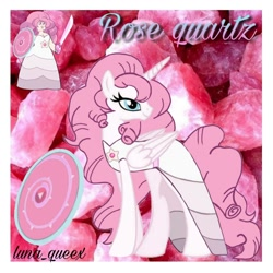 Size: 1080x1080 | Tagged: safe, artist:luna.queex, alicorn, pony, abstract background, alicornified, clothes, dress, duo, eyelashes, female, horn, looking back, mare, peytral, ponified, race swap, rose quartz (steven universe), steven universe, wings