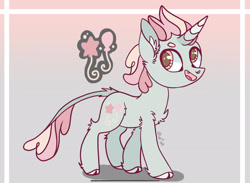 Size: 2284x1668 | Tagged: safe, artist:caramelbolt24, oc, oc only, pony, unicorn, abstract background, chest fluff, cloven hooves, ear fluff, horn, leonine tail, magical lesbian spawn, male, offspring, open mouth, parent:pinkie pie, parent:rainbow dash, parents:pinkiedash, reference sheet, smiling, solo, stallion, unicorn oc