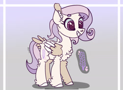 Size: 2284x1668 | Tagged: safe, artist:caramelbolt24, oc, oc only, pegasus, pony, abstract background, chest fluff, colored hooves, ear fluff, eyelashes, female, grin, hoof fluff, magical lesbian spawn, mare, offspring, parent:fluttershy, parent:rarity, parents:flarity, pegasus oc, reference sheet, smiling, solo, two toned wings, wings