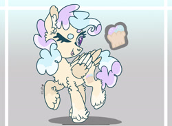 Size: 2279x1668 | Tagged: safe, artist:caramelbolt24, oc, oc only, pegasus, pony, abstract background, chest fluff, ear fluff, eyelashes, looking back, magical lesbian spawn, offspring, one eye closed, parent:fluttershy, parent:pinkie pie, parents:flutterpie, pegasus oc, raised hoof, reference sheet, signature, solo, story included, transgender, two toned wings, unshorn fetlocks, wings, wink