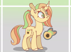 Size: 2289x1668 | Tagged: safe, artist:caramelbolt24, oc, oc only, pony, unicorn, abstract background, chest fluff, colored hooves, ear fluff, female, horn, magical lesbian spawn, mare, offspring, parent:applejack, parent:fluttershy, parents:appleshy, reference sheet, smiling, solo, unicorn oc