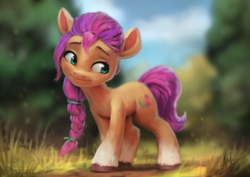 Size: 1200x850 | Tagged: safe, artist:assasinmonkey, sunny starscout, earth pony, pony, g5, blurred background, braid, cutie mark, female, grass, head tilt, looking sideways, outdoors, smiling, socks (coat markings), solo, standing, unshorn fetlocks