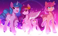 Size: 4096x2512 | Tagged: safe, artist:gaiki, izzy moonbow, pipp, sunny starscout, earth pony, pegasus, pony, unicorn, spoiler:g5, cloven hooves, cutie mark, g5, teeth, trio