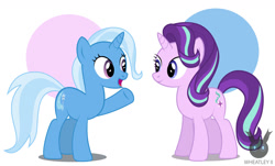 Size: 1461x882 | Tagged: safe, artist:wheatley r.h., derpibooru exclusive, starlight glimmer, trixie, unicorn, female, happy, shipping, simple background, startrix, vector, watermark, waving
