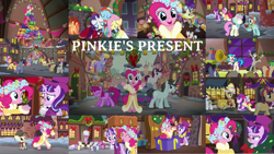 Size: 1280x722   Tagged: safe, edit, edited screencap, editor:quoterific, screencap, alula, baroque cloak, berry punch, berryshine, blewgrass, bon bon, bonnie rose, carrot top, chelsea porcelain, cherry berry, cloud kicker, dark moon, dj pon-3, doctor whooves, evening stroll, featherweight, fiddlesticks, flutterholly, fluttershy, golden harvest, graphite, liza doolots, lucky clover, lyra heartstrings, merry, neon lights, octavia melody, paraviolet, petunia, pinkie pie, pitch perfect, piña colada, pluto, rainbow dash, rarity, rising star, ruby pinch, snowdash, snowfall frost, sooty sweeps, spirit of hearth's warming presents, starlight glimmer, sweetie drops, time turner, tootsie flute, tornado bolt, twinkleshine, vinyl scratch, written script, earth pony, pegasus, pony, unicorn, a hearth's warming tail, season 6, apple family member, bipedal, chimney sweep, clothes, dancing, decoration, eyes closed, female, glowing horn, gritted teeth, group hug, hat, hearth's warming, hearth's warming lights, hearth's warming tree, horn, hug, magic, magic aura, male, musical instrument, open mouth, pinkie's present, present, song, tree, victrola scratch, violin, walking, wreath