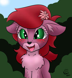 Size: 1100x1200 | Tagged: safe, artist:kingkrail, oc, oc:red lotus, blushing, chest fluff, cute, fawn, flower, flower in hair, freckles, open mouth, smiling, solo