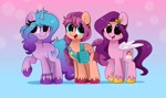 Size: 4096x2439 | Tagged: safe, artist:kittyrosie, izzy moonbow, pipp, sunny starscout, earth pony, pegasus, pony, unicorn, adorapipp, bag, blushing, bracelet, braid, cute, eyelashes, female, g5, gradient background, head turned, high res, izzybetes, jewelry, looking at you, mare, open mouth, raised hoof, shoulder bag, smiling, standing, sunnybetes, three quarter view, tiara, trio, unshorn fetlocks